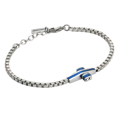Steel bracelet with central pvd in blue pvd