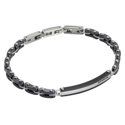 Black ceramic, steel and zircon link bracelet