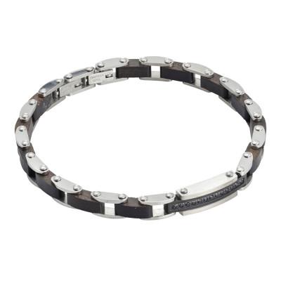 Steel bracelet with black wood links and black spinels