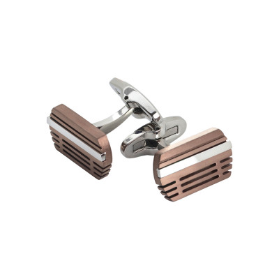 Steel cufflinks with pink pvd inserts