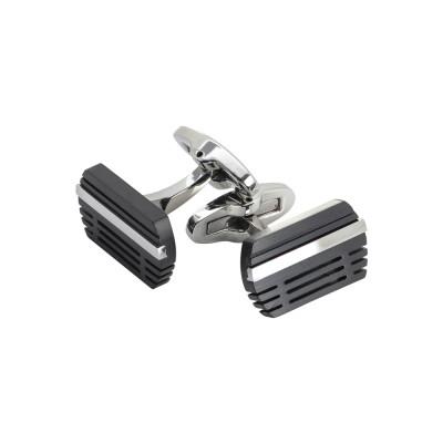 Steel cufflinks with black pvd inserts