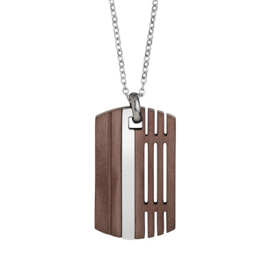 Steel necklace with platinum and pink PVD
