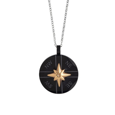 Steel necklace with black and wind rose pvd element