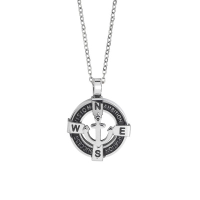 Steel necklace with circular pendant on pvd and anchor