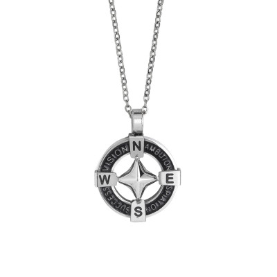 Steel necklace with circular pendant in pvd and wind rose