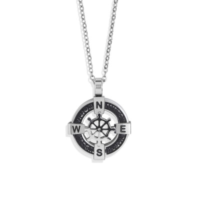 Steel necklace with circular pendant on pvd and rudder
