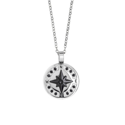Necklace with wind rose in black pvd and spinels