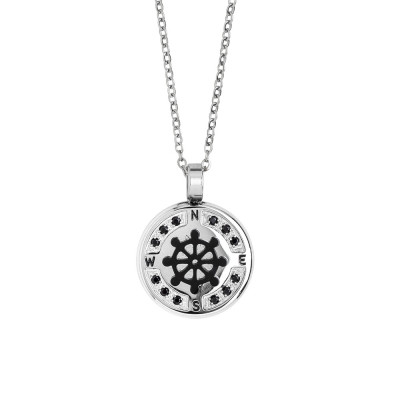 Necklace with rudder in black pvd and spinels