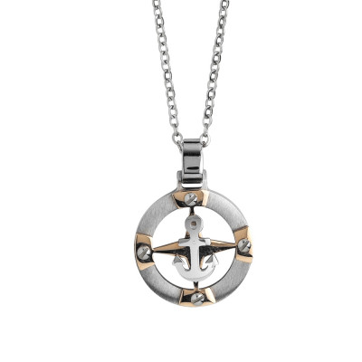 Steel necklace with anchor and zircons