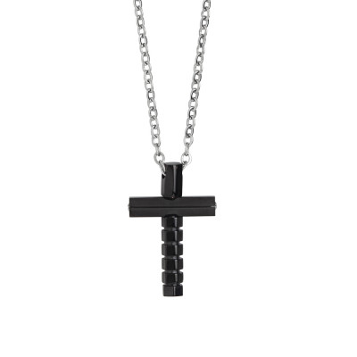Steel necklace with crucifix in black pvd