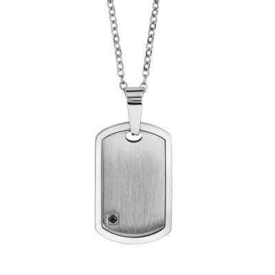Steel necklace with scratched effect plate and spinel