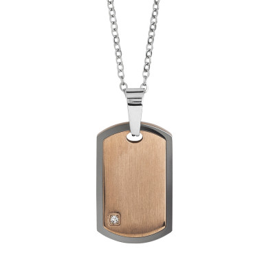 Steel necklace with scratched effect plate and zircon