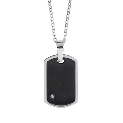 Steel necklace with black pvd and zircon plate