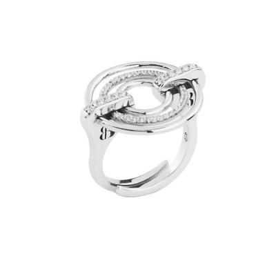 Silver ring with concentric circles and zircons