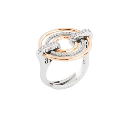 Two-color ring with decoration of concentric circles and zircons