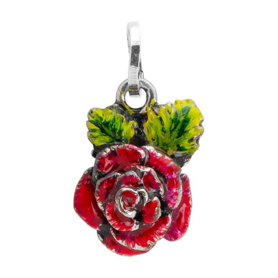 Charm with rose painted by hand