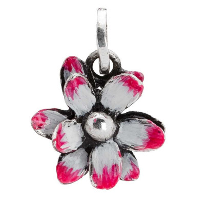 Charm with pink water lily painted by hand