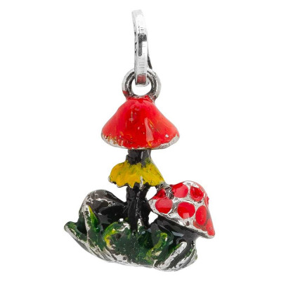 Charm with hand-painted mushrooms