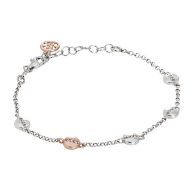 Silver bracelet with bicolor circular elements and zircons