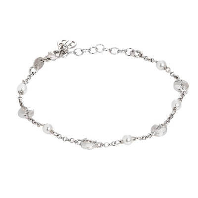 Bracelet with Swarovski pearls and circular elements with cubic zirconia