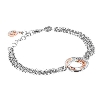 Double strand bracelet in rhodium silver with bicolor zirconia decoration