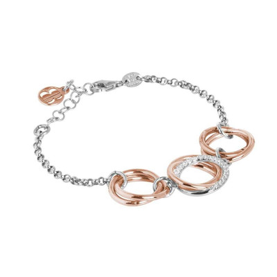 Bi-color silver bracelet with intertwined circles and zircons