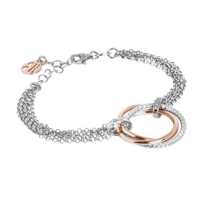 Multi-strand bracelet with smooth circles, rose gold-plated and zircons