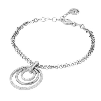Double strand bracelet with concentric charm and zircons