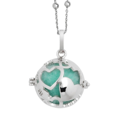 Rhodium-plated necklace with a heart and wadding treasure chest