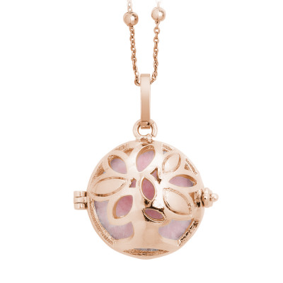Rosé necklace with opening casket tree of life and wadding