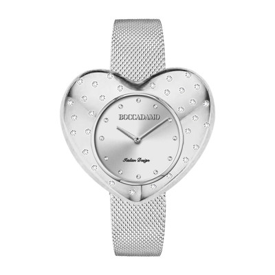 Silver watch with heart-shaped dial and Swarovski crystals in rain