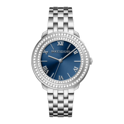 Watch only time woman silver with blue dial and double bezel of Swarovski