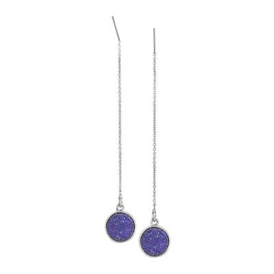 Drop earrings with purple druzy stone