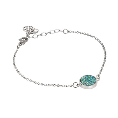 Bracelet with druzy stone green water