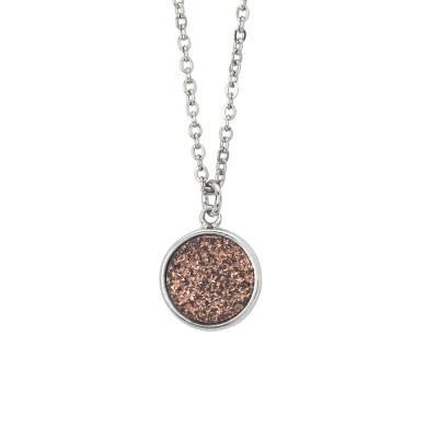 Necklace with bronze colored stone druzy