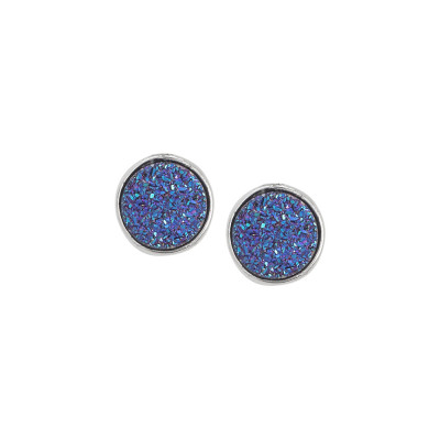 Stud earrings with purple stone druzy