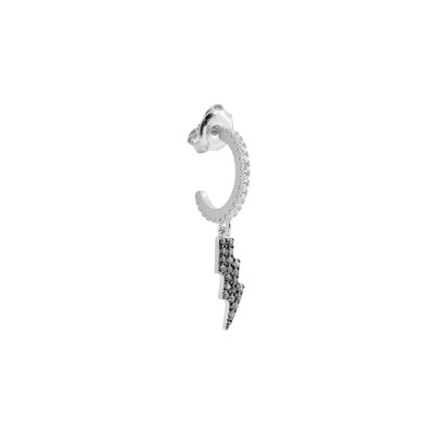 Crescent earring with black zircon lightning