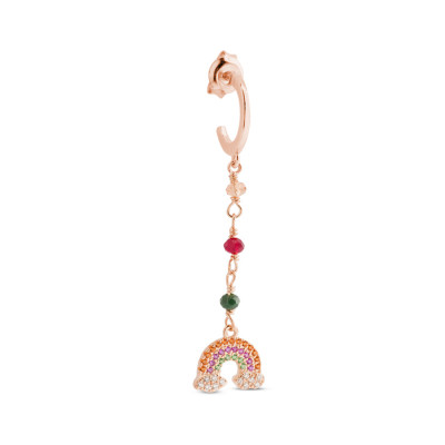 Rose gold plated earring with colored zircons and rainbow