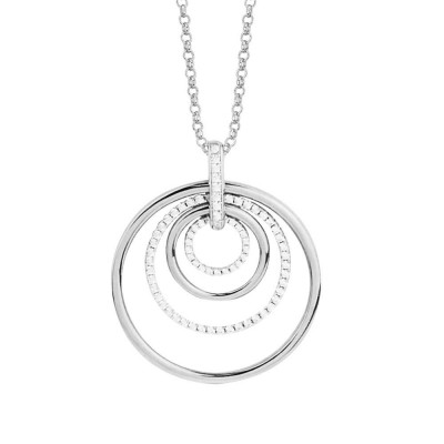 Silver necklace with concentric pendant and zircons