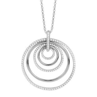 Rhodium-plated silver necklace with concentric pendant and zircons