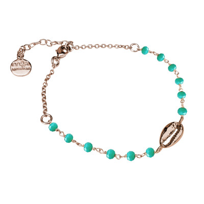 Rosé bracelet with green crystals and shell