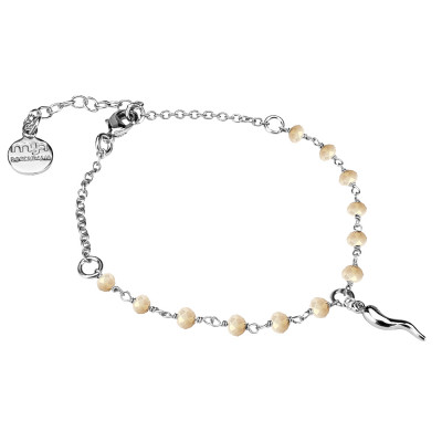 Bracelet with beige crystals and lucky charm