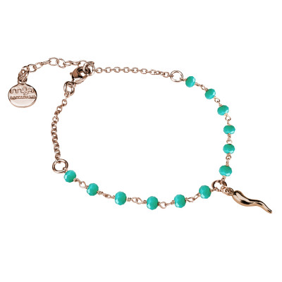 Rosé bracelet with green crystals and lucky charm