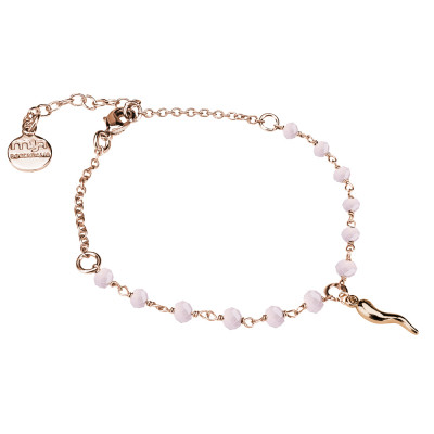 Rosé bracelet with pink milk crystals and lucky charm