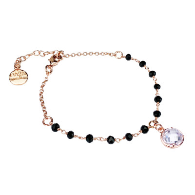Rosé bracelet with black crystals and crystal crystal