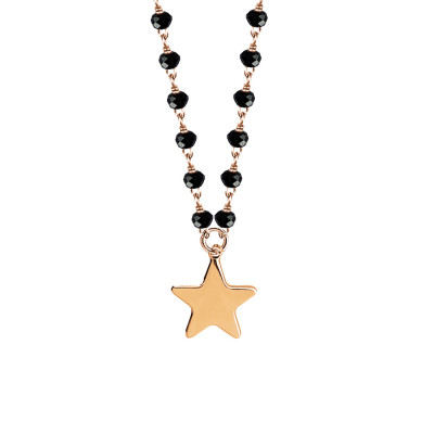 Rosé necklace with black crystals and star
