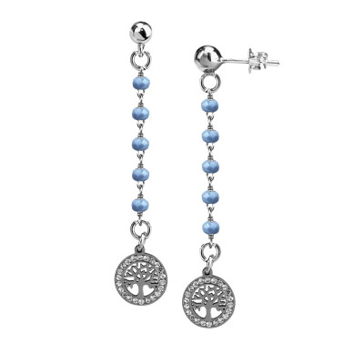 Earrings with celestial crystals and tree of life