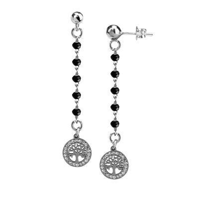 Earrings with black crystals and tree of life