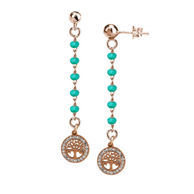 Rosé earrings with green water crystals and tree of life