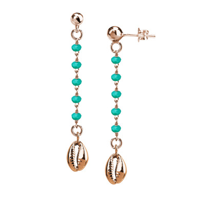 Rosé earrings with green water and shell crystals